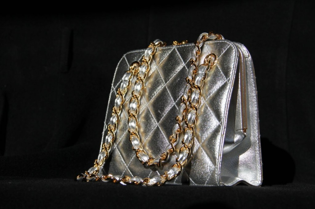 Chanel evening bag quilted silver