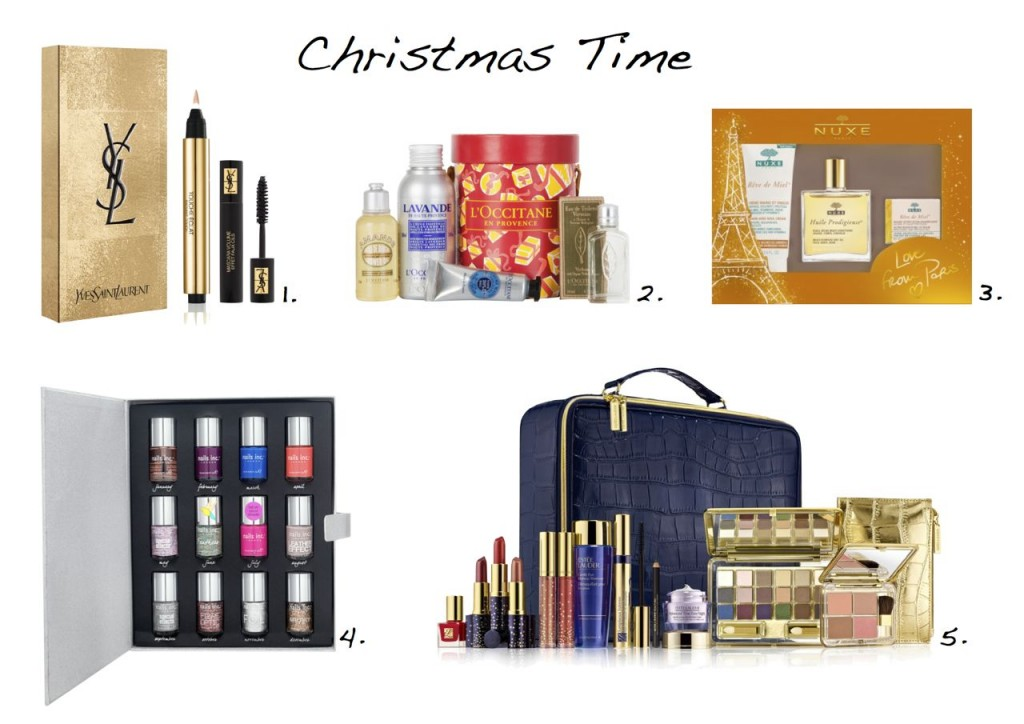 Christmas beauty gift sets Yves Saint Laurent L'Occitane Nuxe Nails Inc Estee Lauder christmas gift sets