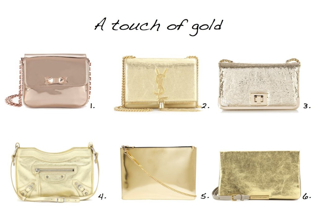 Gold bags Saint Laurent Balenciaga Whistles Oasis Marc by Marc Jacobs Ted Baker