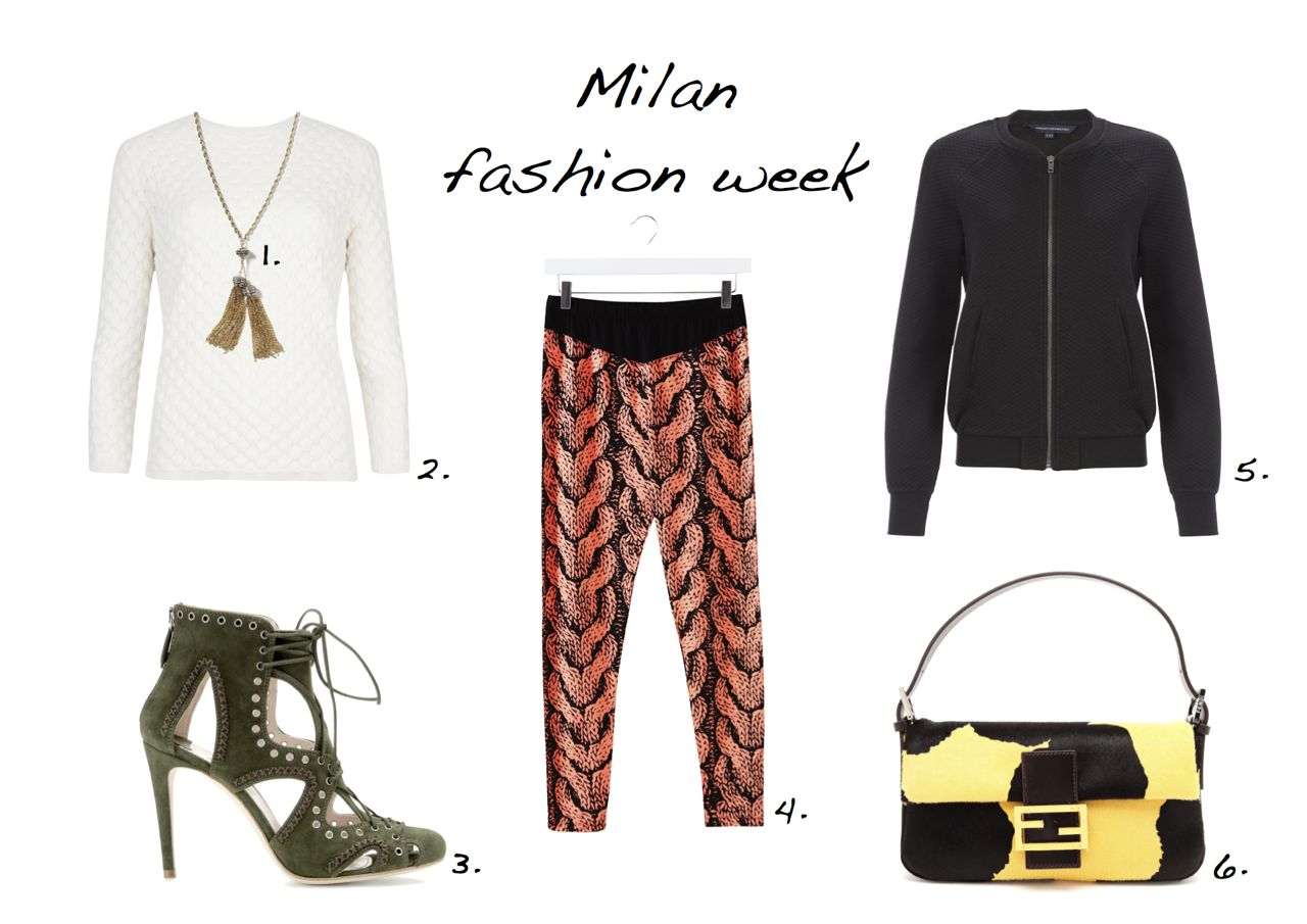 What to wear to Milan Fashion Week Fendi bag Miu Miu shoes French Connection Bomber Warehouse trousers Banane Republic necklace Style Barista