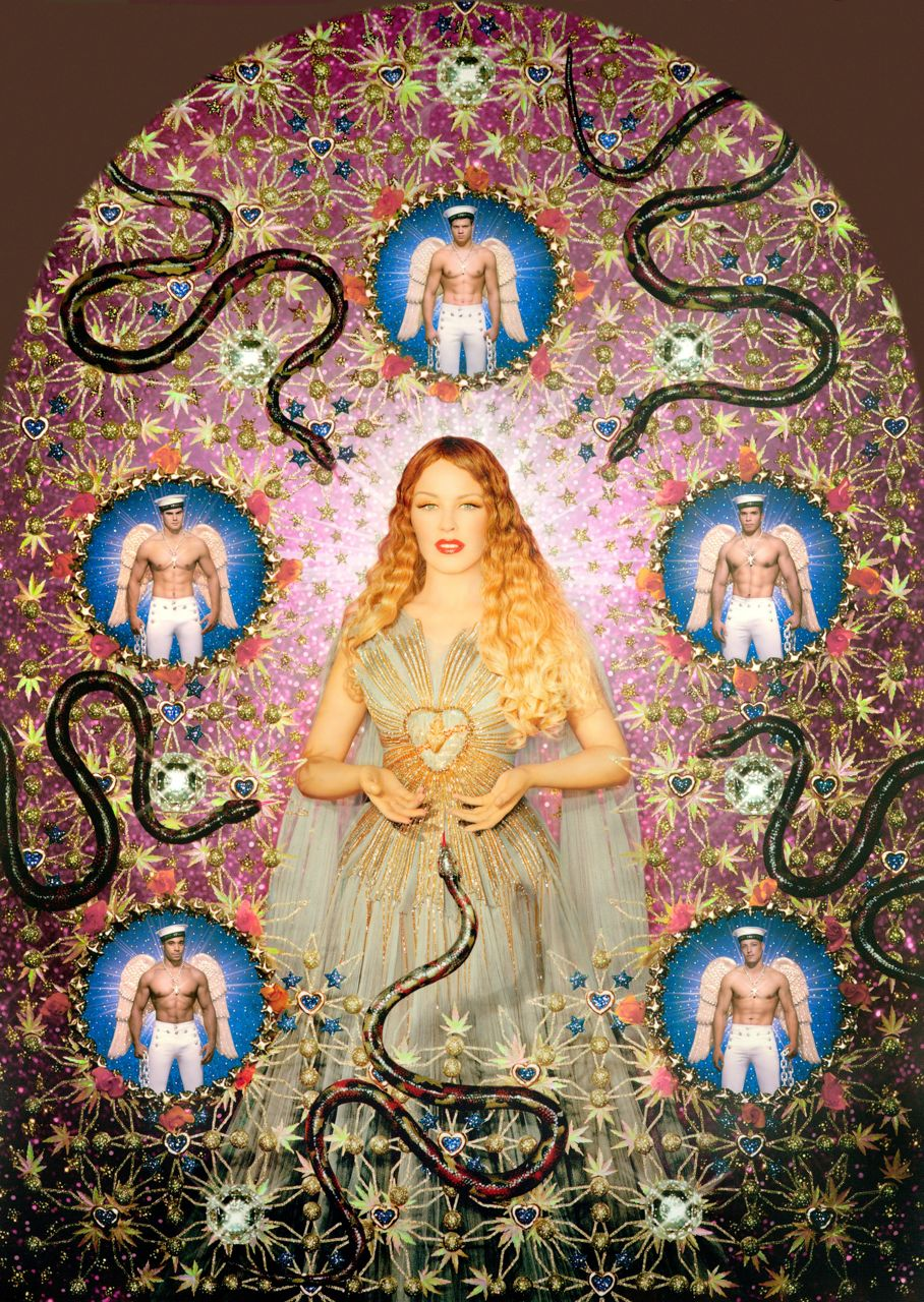 8 - Kylie Minogue, The Virgin with the Serpents. 'Aureole' Gown, Virgins (or Madonnas) collection. The Fashion World of Jean Paul Gaultier