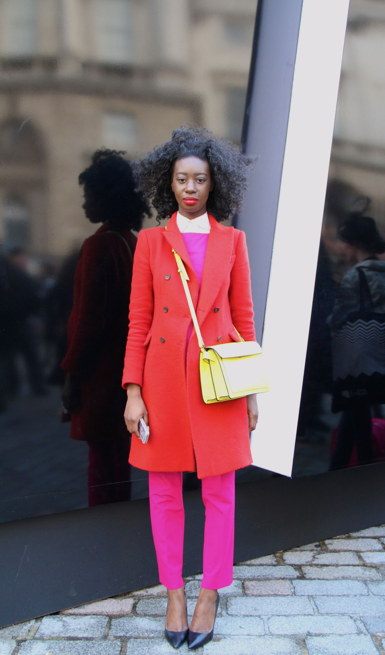 Annette Boateng from Hot Happenings London street style London fashion week Style Barista pink pants pink trousers