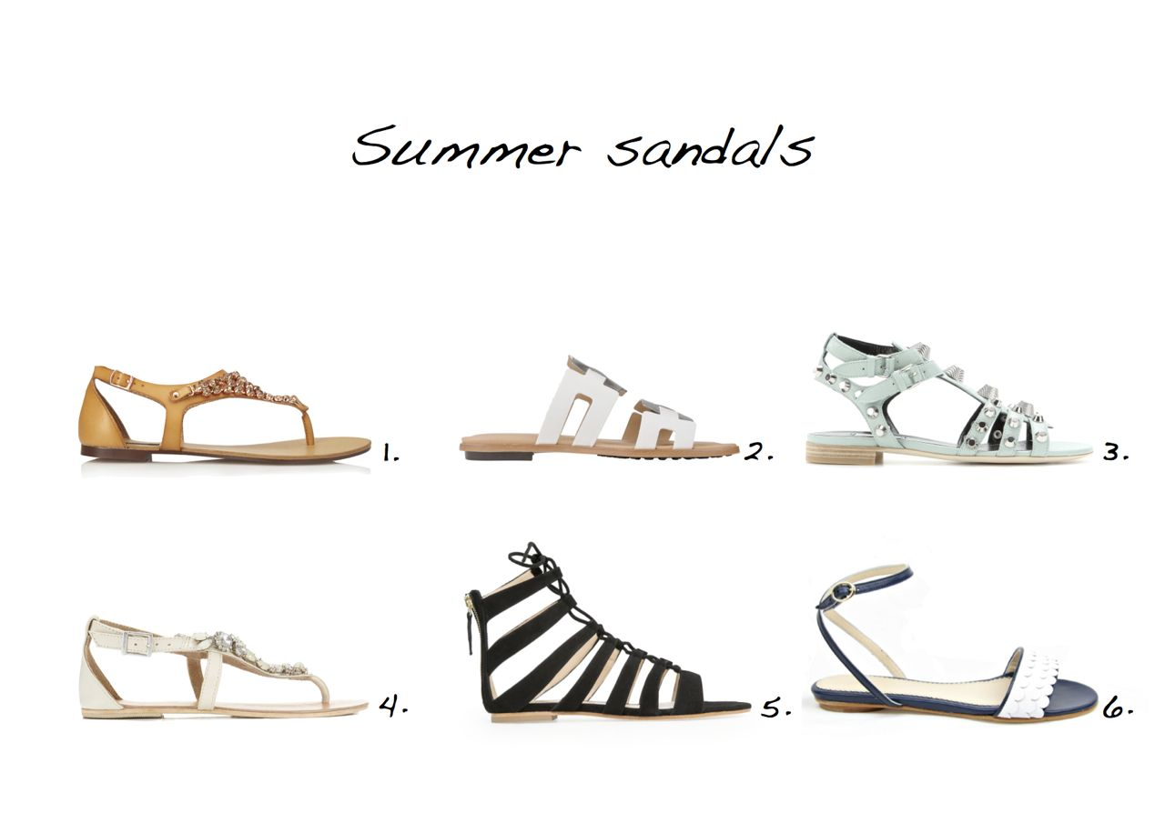 Summer sandals Forever 21 Touch-of-Glam Sandals Tods Gomma Leather Sandals Balenciaga Giant Studded Textured-Leather Sandals Miss Selfridge Foley Embellished Sandal La Paire Viola Navy Mango Gladiator Suede Sandals