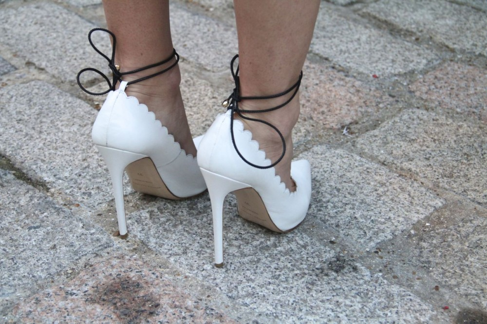 Bionda Castana Rosario Scallop Edge High Heels with Ankle Tie white shoes