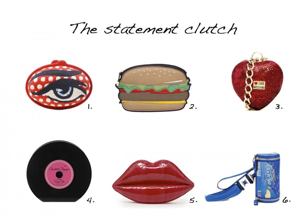 Style Barista Clutches Lulu Guinness Lipstick Red Snakeskin Lips Clutch  Charlotte Olympia Vinyl Record Clutch Love Moschino Heart Clutch with Bracelet Chain Strap Sarah's Bag Eggy Eye Embroidered Clutch New Look Light Brown Burger Clutch