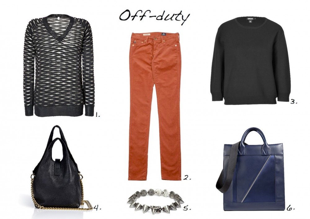 Faith Connection Alpaca Textural Knit V-Neck Pullover  AG Jeans Velvet Cord Leggings DKNY Cropped Sleeve Pullover Jil Sander Leather Slouchy Tote  Eddie Borgo Small Cone Bracelet in Silver Vionnet Leather-Satin Tote in Indigo