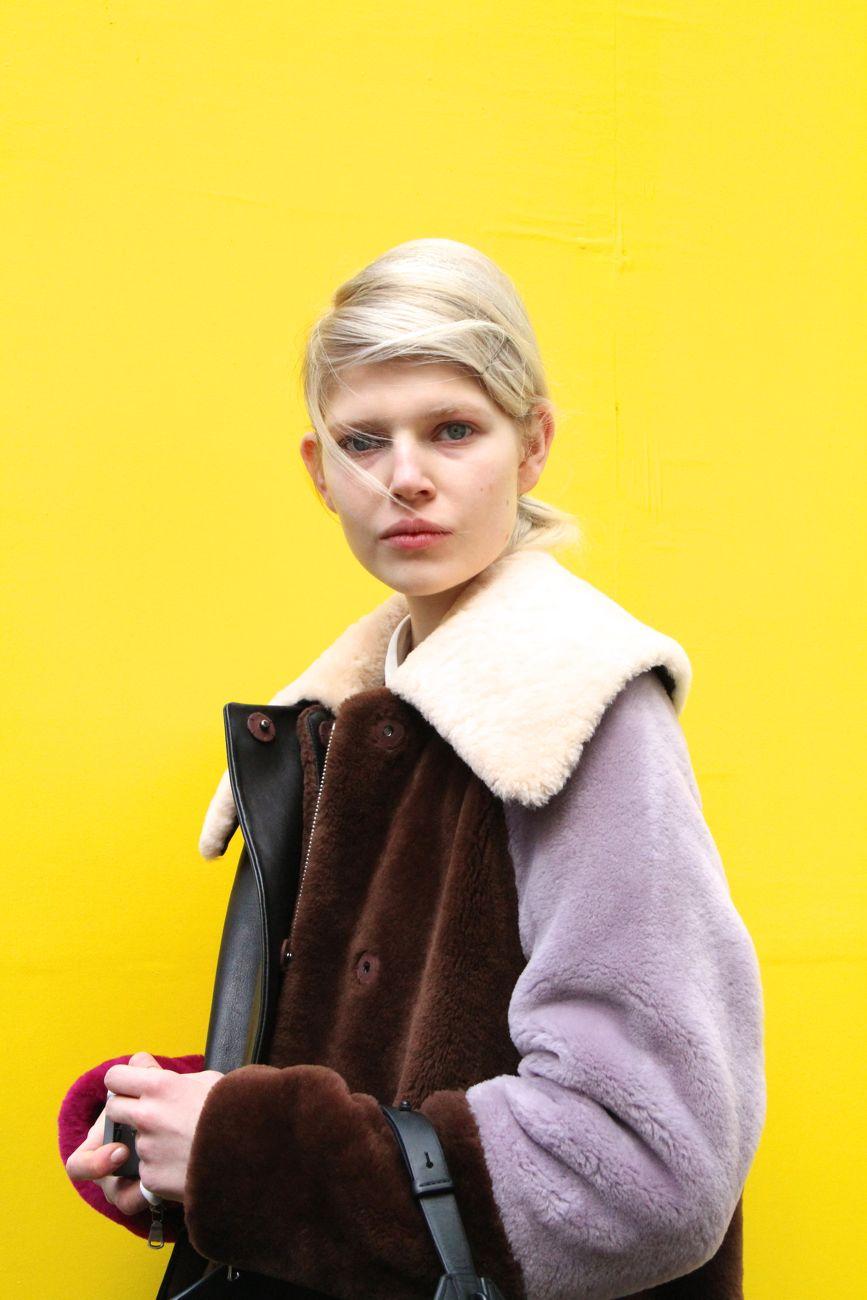 London Fashion Week Street Style 3.1 Phillip Lim Patchwork shearling coat Style Barista