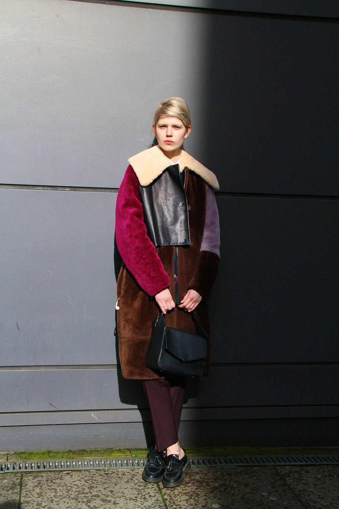 London Fashion Week Street Style 3.1 Phillip Lim shearling leather Patchwork coat Style Barista (1)