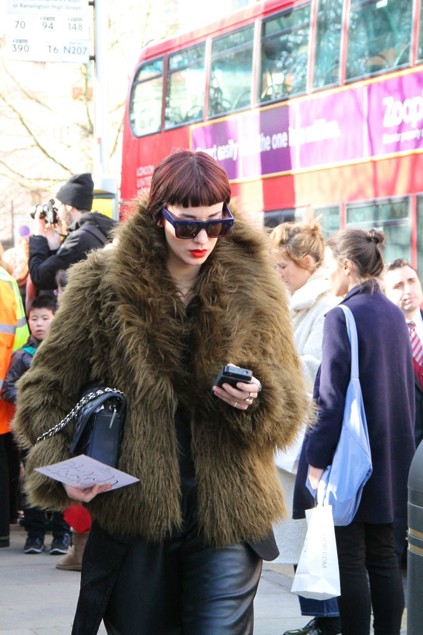 London Fashion Week Street Style fur coat outside Burberry 23 February 2015 Style Barista