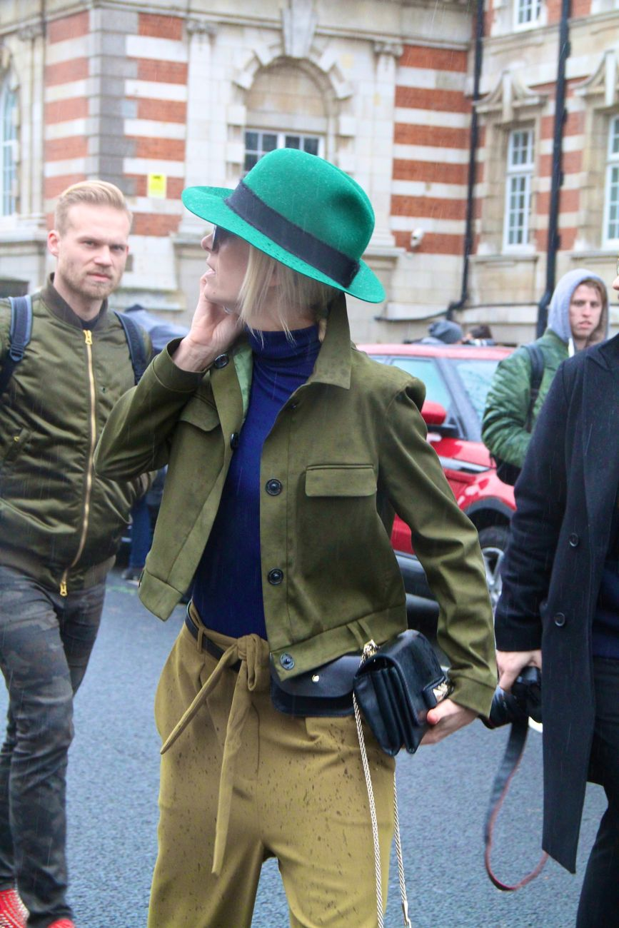 London Fashion Week Street Style green hat Style Barista