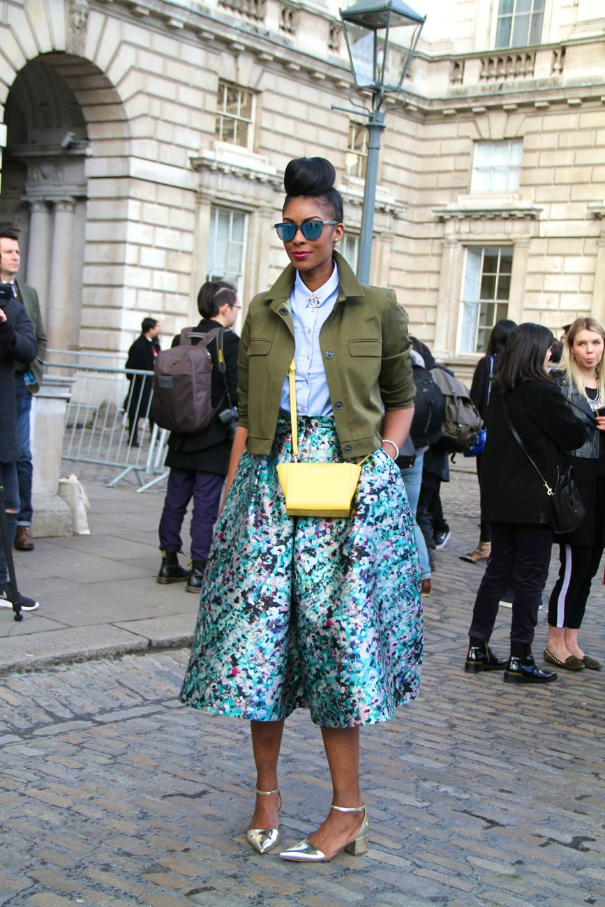 London Fashion Week Street Style midi skirt Style Barista