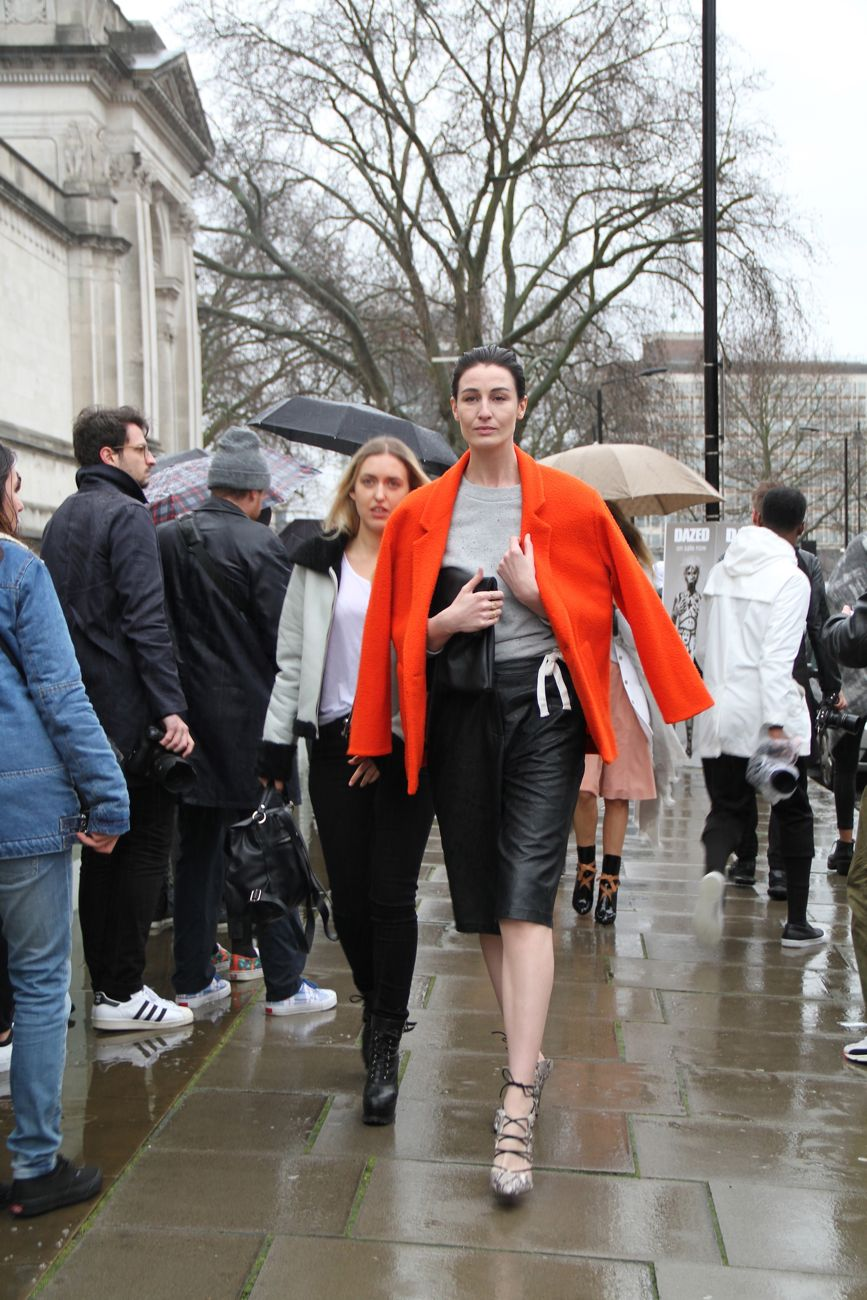 London Fashion Week Street Style orange coat Style Barista