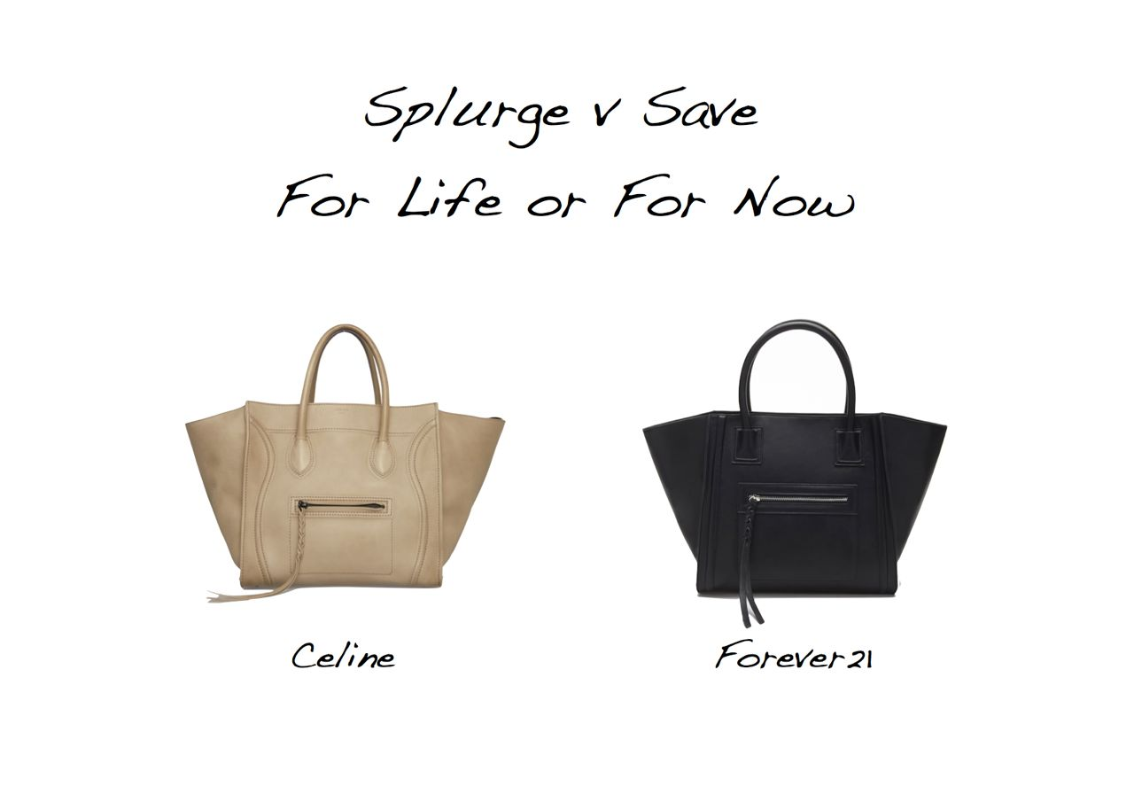 b368d39bd97e Splurge versus save Celine Luggage Phantom bag lookalike Forever21 Faux  Leather Satchel