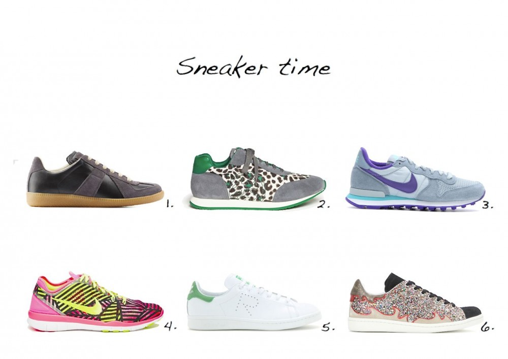 sneakers edit trainers edit Isabel Marant Gilly Glitter Sneakers Adidas by Raf Simons Stan Smith Leather Sneakers Maison Martin Margiela Leather Replica Sneakers Tory Burch 'Delancy' Animal Print Suede Sneakers Nike Internationalist Sneakers