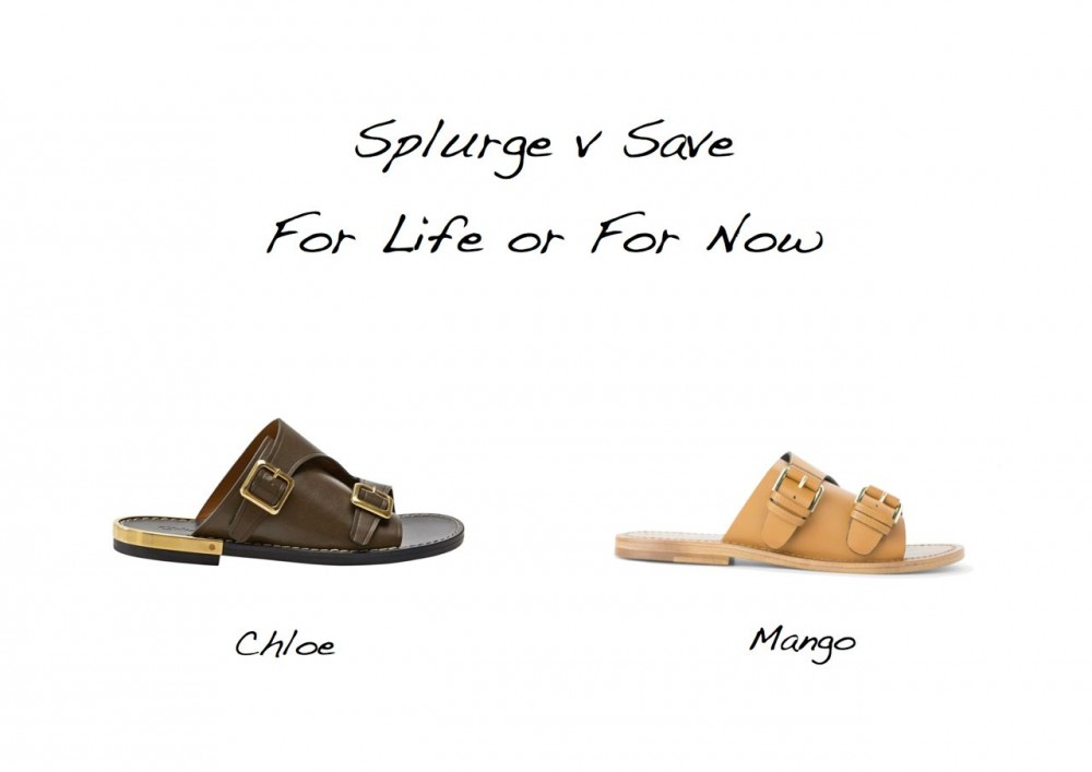 splurge versus save Chloe lookalike Chloe double buckle leather slide sandals Mango buckle leather sandals