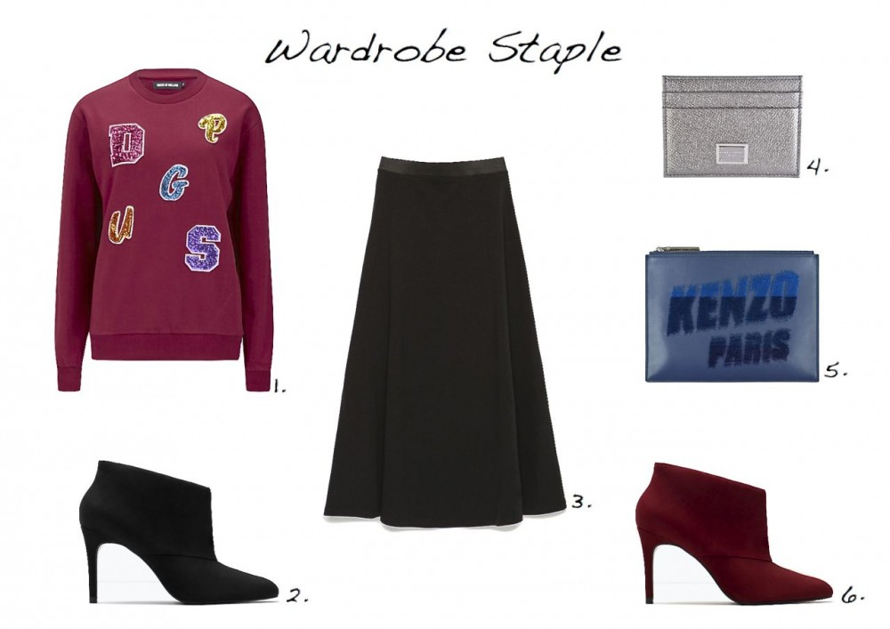 Steal Of The Day Zara Midi Skirt Dolce and Gabbana Leather Card Holder Kenzo Paris Flocked Leather Pouch Zara Suede Ankle Boot House of Holland Sequin Letter Sweatshirt