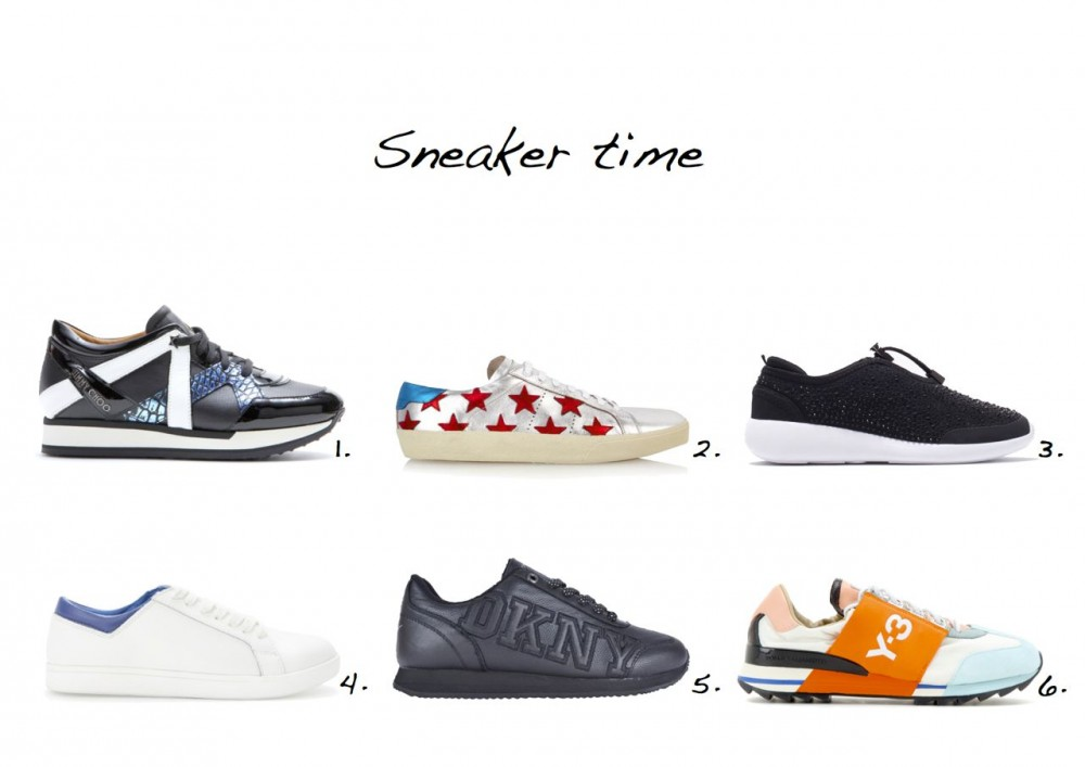 sneakers Jimmy Coo London Leather Sneakers Saint Laurent Star-Embellished Leather Trainers Zara Shiny Trainers Mango Lace-Up Leather Sneakers DKNY Jete Logo Varsity Trainers Y-3 Rhita Sport Sneakers