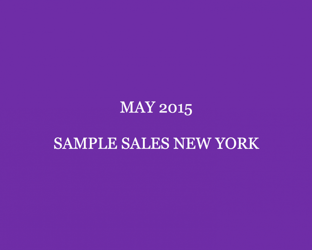 May 2015 Sample Sales New York Style Barista New York Sample Sales