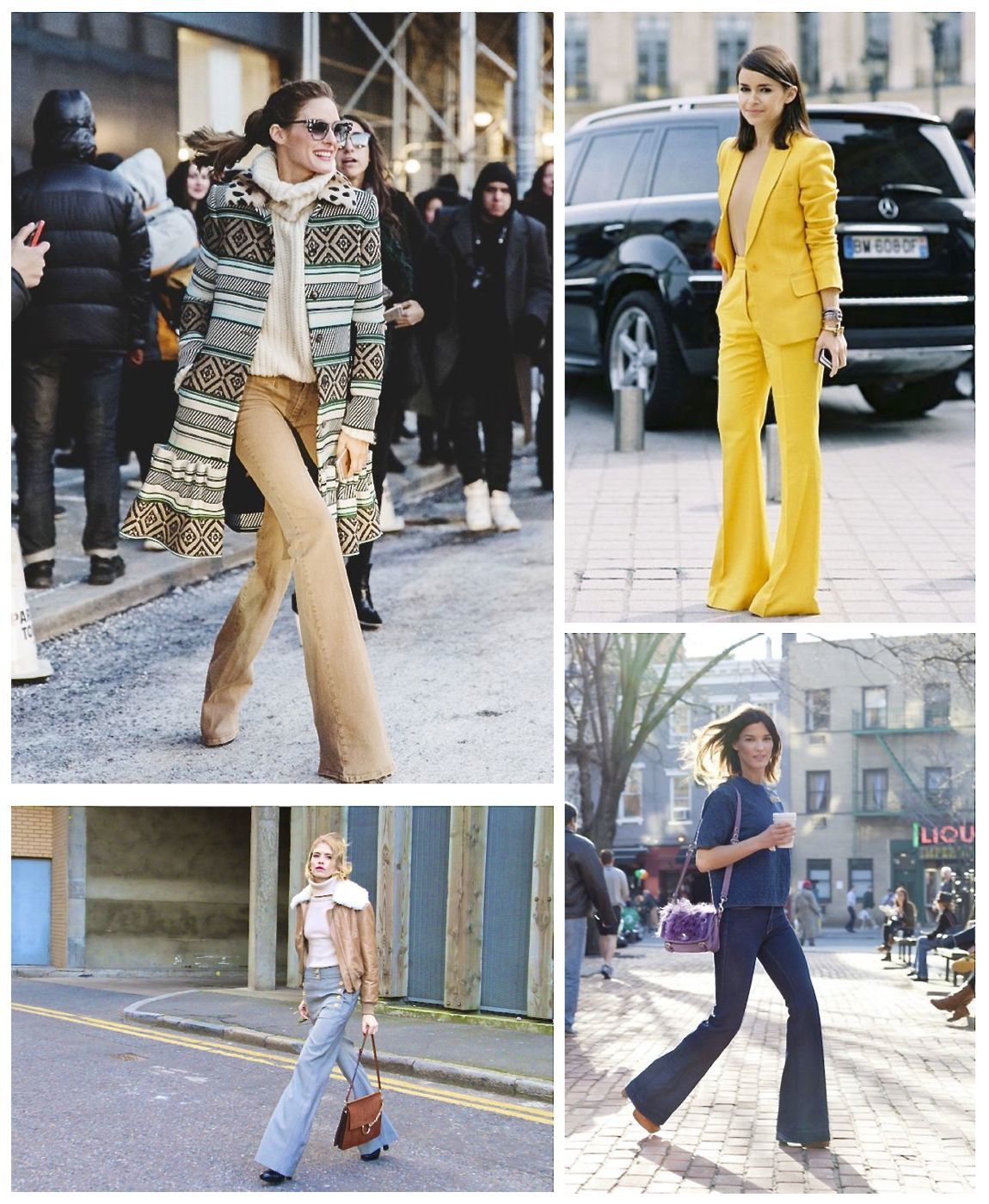 street style flared trousers
