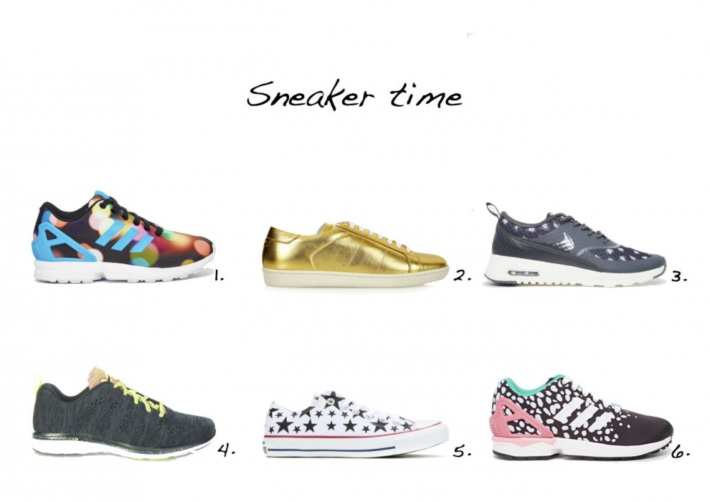 sneakers Adidas Originals ZX Flux Multi Coloured Bubble Dot Trainers Saint Laurent Classic Court Low-Top Trainers Nike Air Max Thea Black & Grey Print Trainers
