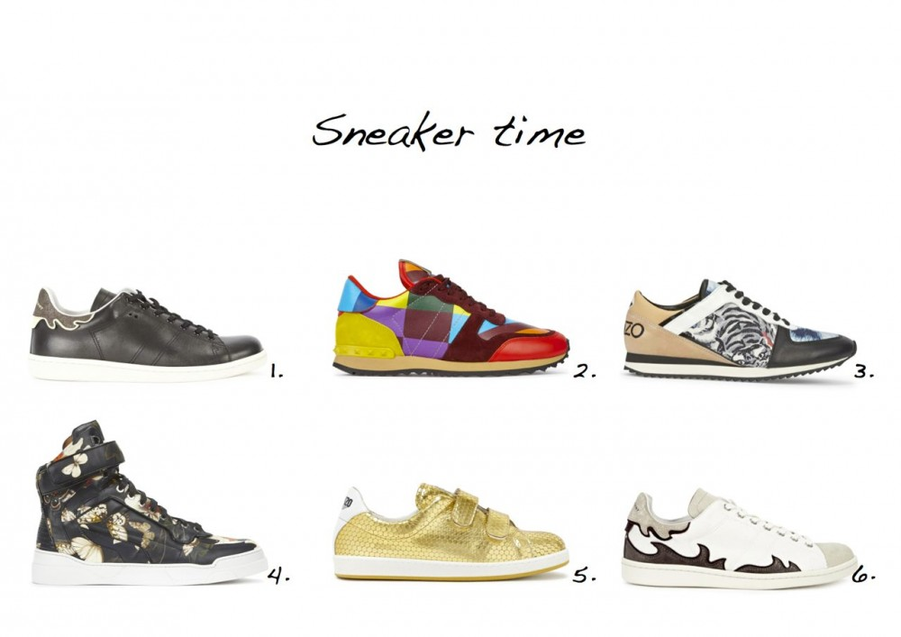 sneakers sale Kenzo Gold Textured Leather Trainers Isabel Marant Bart Black Leather Trainers Isabel Marant White Flame Applique Canvas Trainers Kenzo Orange Tiger Print Leather Trainers