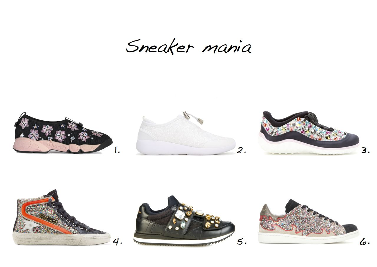 embellished sneakers Dior Fusion Sneaker Zara Sequin Sneakers Miu Miu Embellished Sneakers Isabel Marant Gilly Glitter Sneakers Golden Goose Slide Leather Sneakers With Glitter