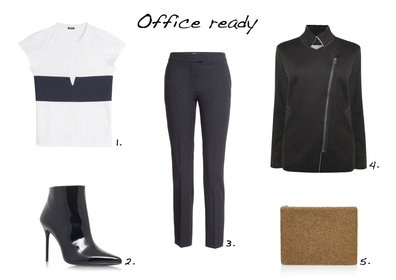 Jil Sander Navy Cotton Blouse Stuart Weitzman Hitimes Moschino Cheap and Chic Wool Crepe Trousers,Gestuz Shelby Jacket Charlotte Olympia Cork Pouch