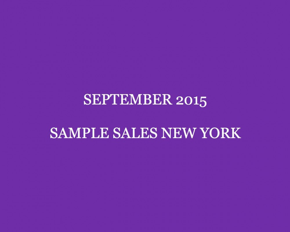 September 2015 Sample Sales New York Style Barista New York Sample Sales