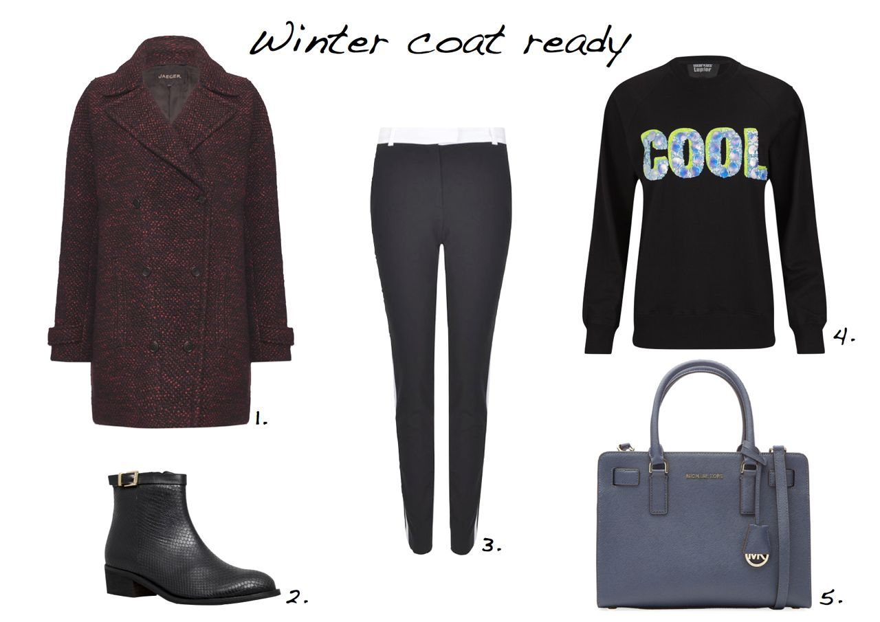 steal of the day Jeager Textured Double-Breasted Coat Joseph Ben Smoking Trousers Markus Lupfer Belinda Sweatshirt Michael Kors Leather Tote Carvela Kurt Geiger Spectacle