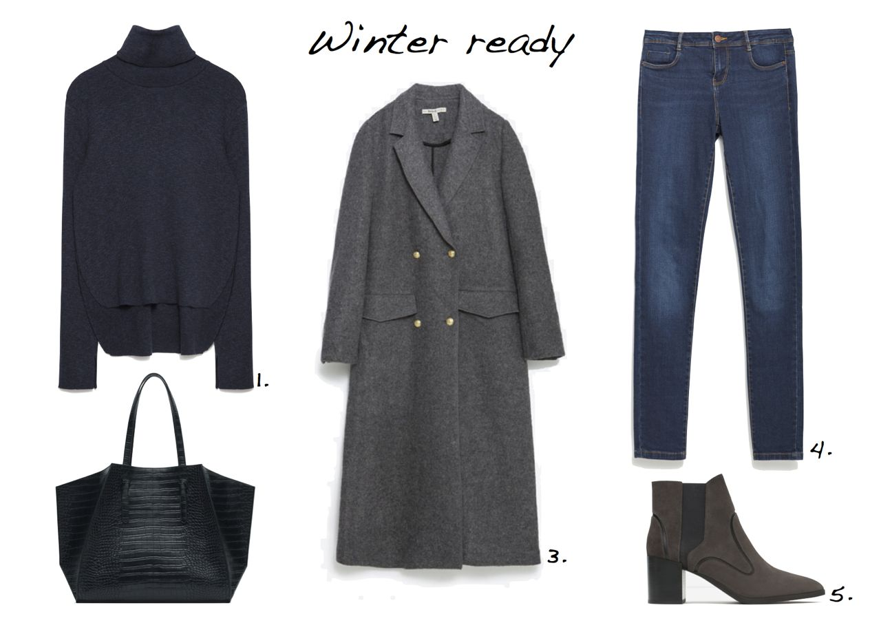 Steal Of The Day Zara Sweater With A Roll-Neck Collar Zara Geometric Tote Zara Jeans Zara Leather High Heel Ankle Boots Zara Long Coat