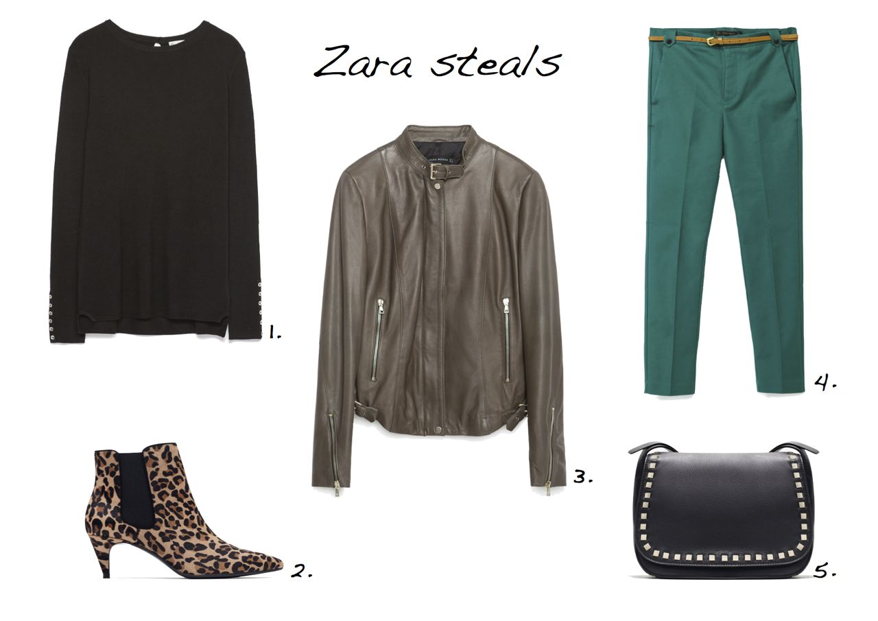 zara-sale-steals Zara Rayon Sweater With Buttoned Cuff Zara High-Heel Printed Leather Ankle Boots Zara Leather Jacket With Zips Zara Double Fabric Trousers