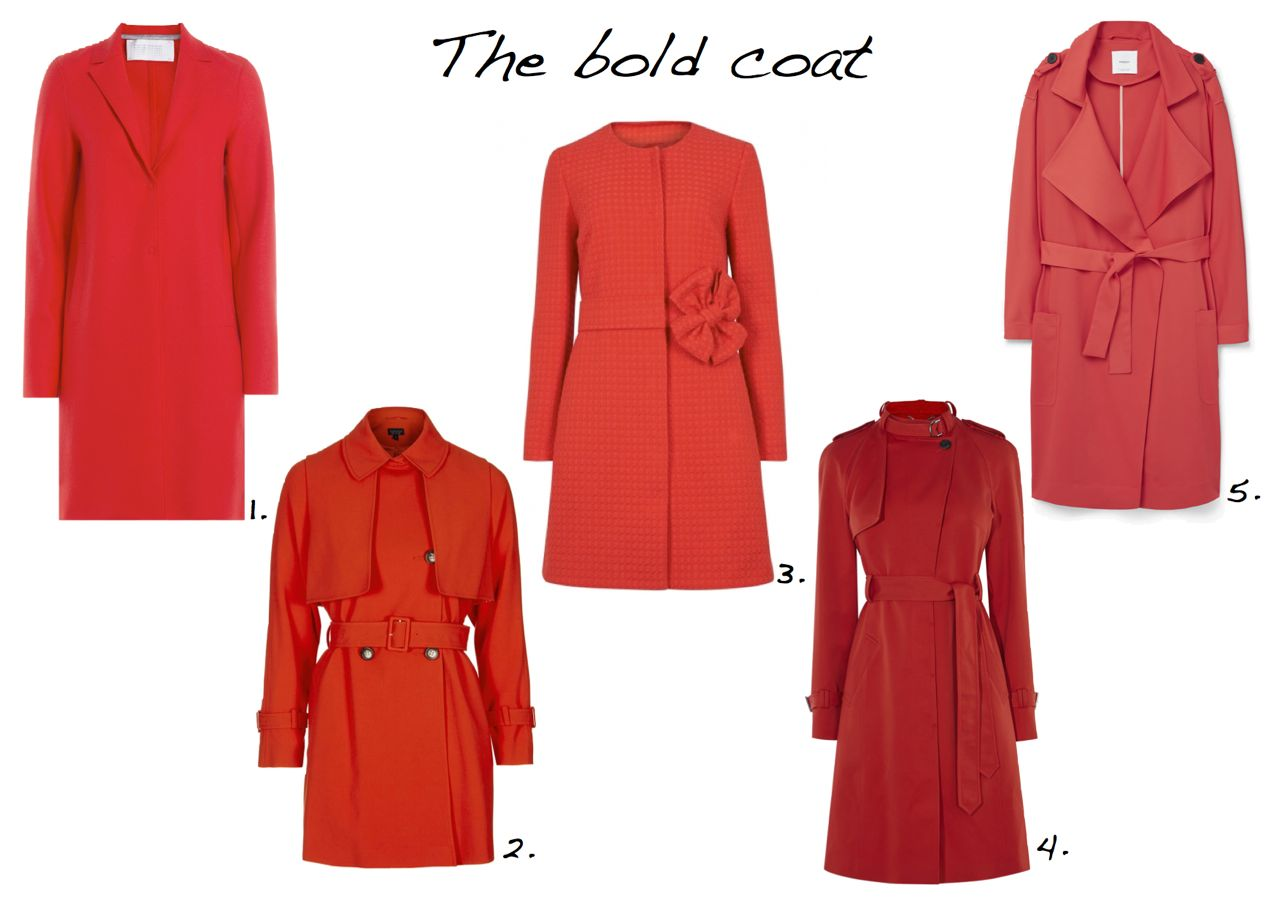 red-coats-Harris Wharf Felted Wool Coat Topshop Lightweight Belted Truster Boutique Moschino Red Bow-Embellished Cotton Coat Karen Millen Red Trench Coat Mango Flowy Trench