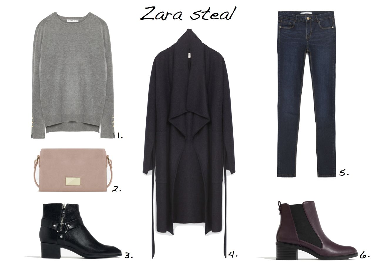 steal of the day Zara Round Neck Sweater Zara Metallic Detail Leather Cross Body Bag Zara Wool Coat With Belt Zara Leather High Heel Ankle Boots With Detail Zara Essential Fits Jeans