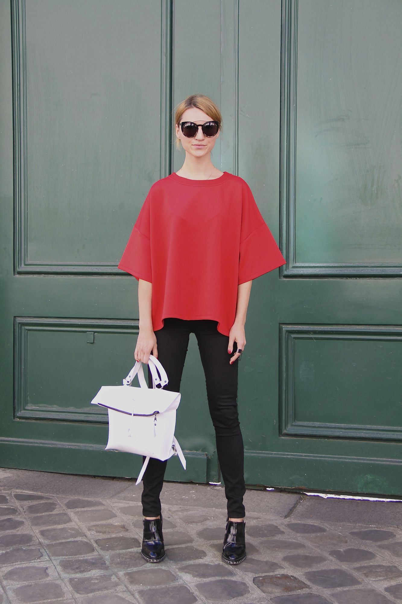 Paris street style red top and Chanel ankle boots Style Barista