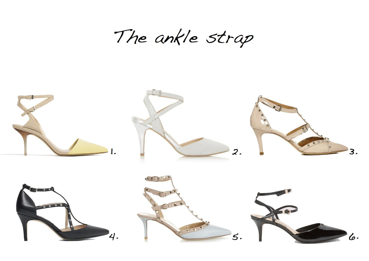 ankle strap shoes Zara Medium Heel Leather Shoes With Double Ankle Strap Mango High Heel Shoes With Ankle Straps Valentino Rockstud Leather Pumps