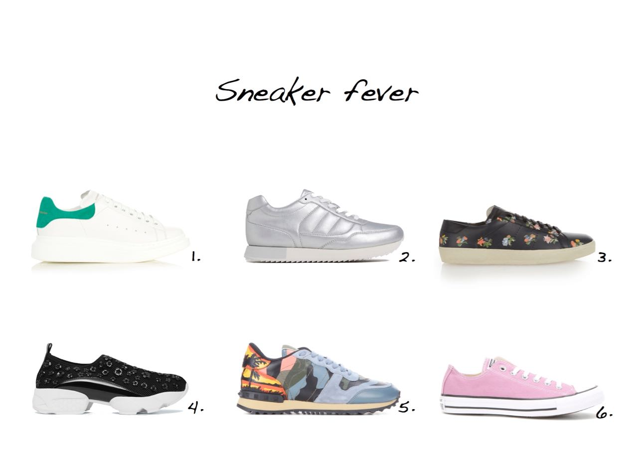 Sneakers Alexander McQueen Low-Top Leather Platform Trainers Zara Metallic Sneakers Saint Laurent Classic Court Floral-Print Low-Top Trainers Mango Flower Appliqué sneakers