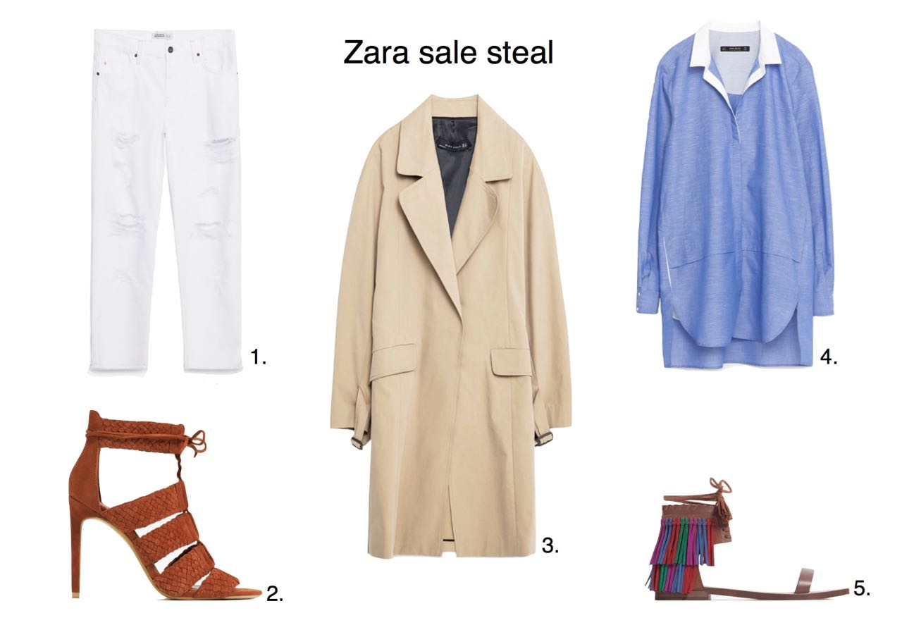 Zara sale steals Zara Relaxed Fit Mid-Rise Trousers Zara Braided Leather Sandals Zara Long Trench Coat  Zara Fringed Flat Leather Sandals